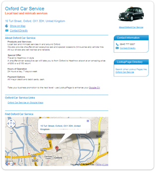 Oxford Car Service - LookupPage