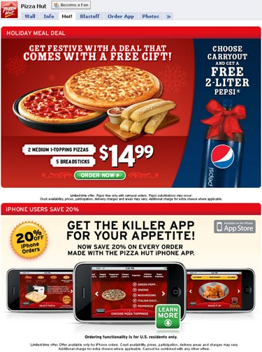 Pizza Hut - Facebook fan page